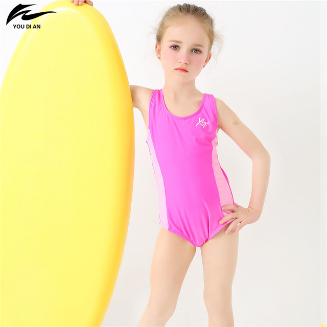 ec539bc71b49b YOUDIAN 2-13Y Lovely Baby Girl Swimwear Children One Piece Swimsuit Pink  Swim Suit Child Beach Wear Bathing Suit