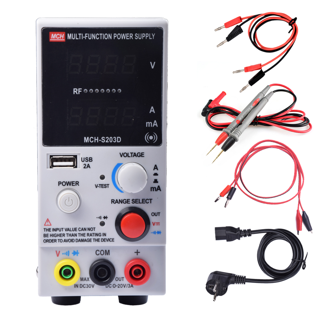220V/110v 20v3a MCH-S203D mobile phone notebook repair power supply ammeter 3A automatic protection of high-precision mini switch mch k 3010d 30v 10a voltage regulator 220v dc adjustable power supply mobile phone laptop repair power