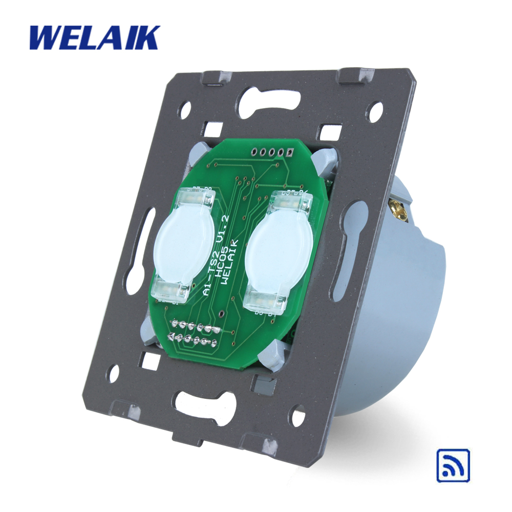 WELAIK  Switch White Wall Switch EU Remote Control Touch Switch DIY Parts Screen Wall Light Switch 2gang1way AC110~250V A923 welaik crystal glass panel switch white wall switch eu remote control touch switch light switch 1gang2way ac110 250v a1914w b