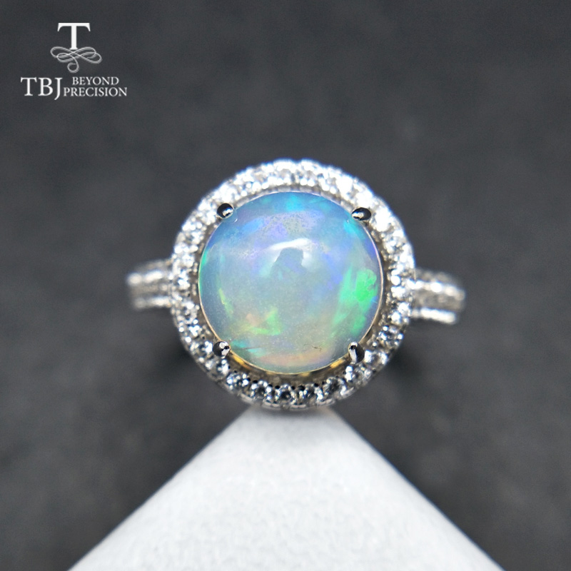 TBJ,Classic ring with natural rainbow opal gemstone Comfortable Finger Ring in 925 sterling silver for women as birthday gift exquisite gemstone embellished vivid alloy finger ring for women