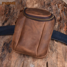PNDME retro crazy horse cowhide mens belt bag simple genuine leather small phone waist packs handmade brown hip pack for men