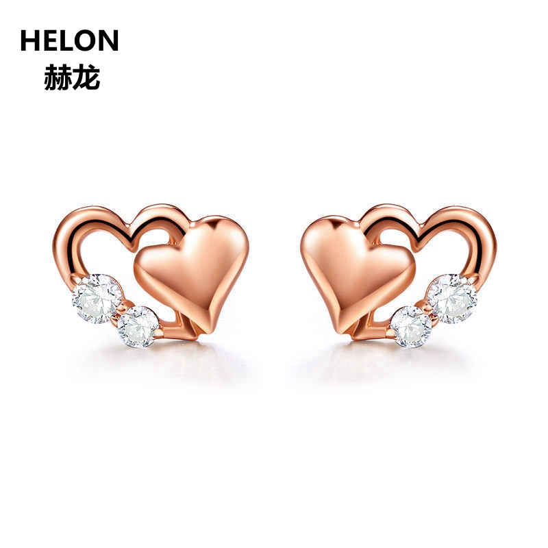 Solid 14k Rose Gold Women Stud Earrings Heart 1.5mm 2mm Cubic Zirconia CZ Earrings Engagement Wedding Fine Jewelry купить недорого в Москве