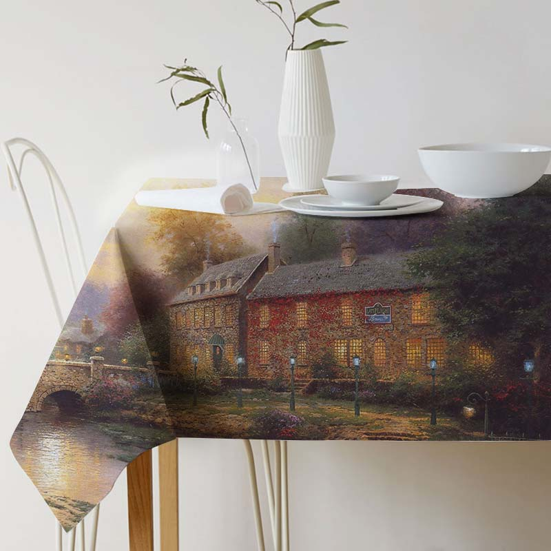 Cotton Linen Tablecloth for table Thomas Kinkade Painting Art Decorative table cloth Dining Table Cover For Kitchen Home Decor