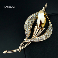 High quality female jewelry yellow crystal Shiny Bud Plant brooch pins Corsage autumn female Badge leaves girls lovers gift