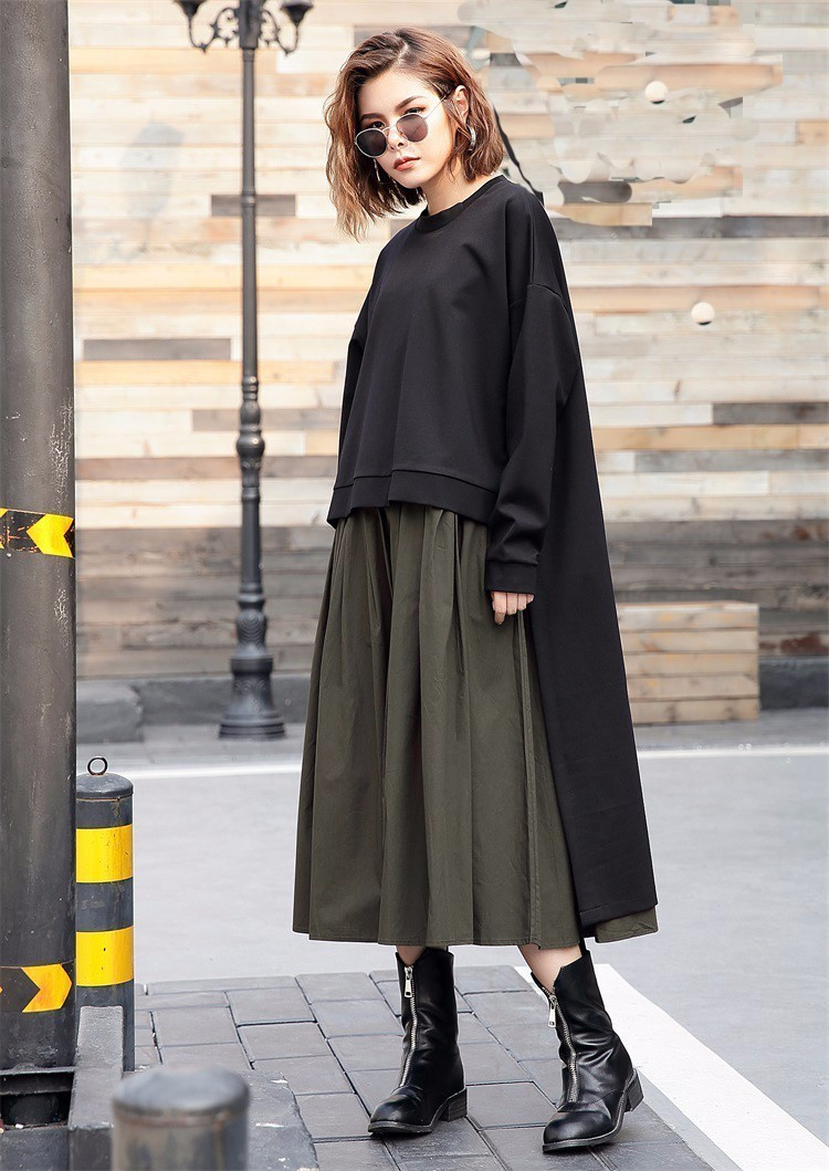 [EAM] 2019 Nouveau Printemps Col Rond à manches longues vert armée Couleur Unie grande taille robe deux pièces Femmes De Mode Marée JC92901 - 2