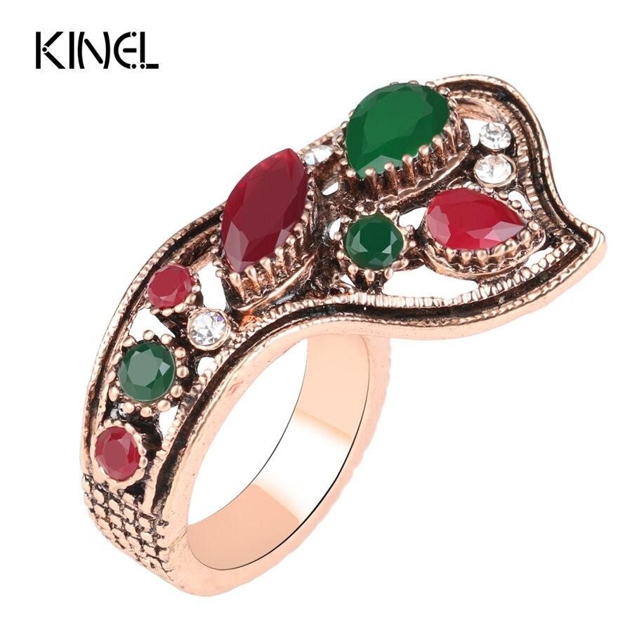 Luxusní turecké šperky Módní Barva Zlatá Dubaj Prsten Prsten Červené Pryskyřice Snubní prsteny pro ženy Nejlepší dárek pro přítele 2017 Nové