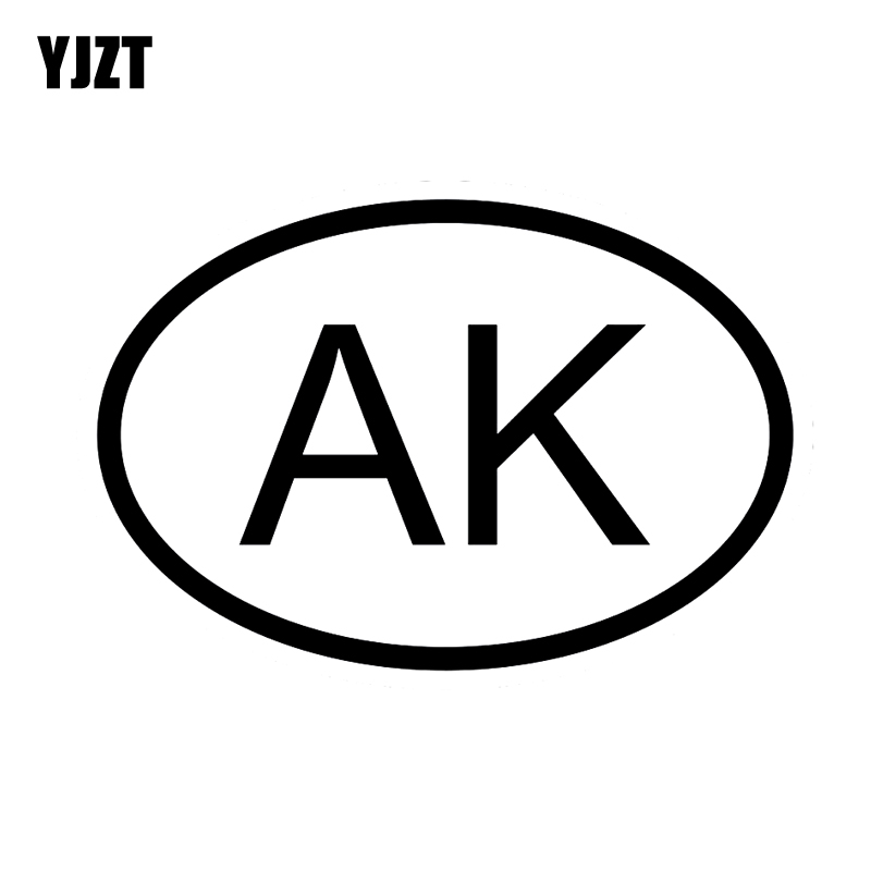 YJZT 13.6CM*9.2CM CAR STICKER VINYL DECAL AK ALASKA COUNTRY CODE OVAL Black Silver C10-01260