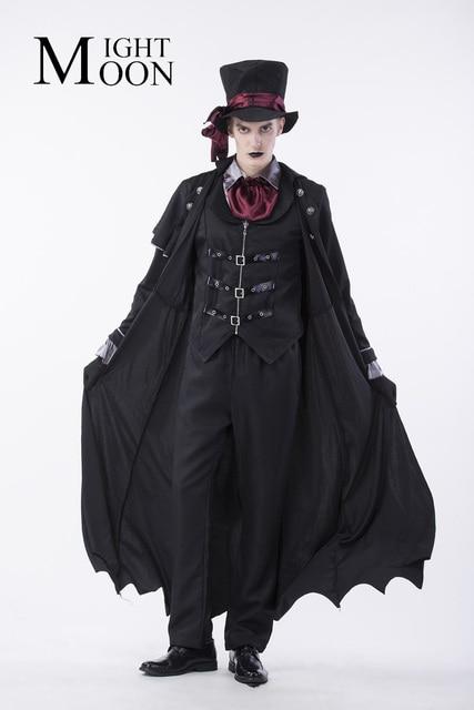MOONIGHT 2018 Gothic Vampire Costume Men Masquerade Party Halloween Cosplay Stage