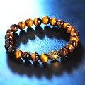 Buda cabeça pulseiras para mulheres blue rose red onyx tiger eye grânulos de pedra natural pulseira de jóias nova chegada 0764