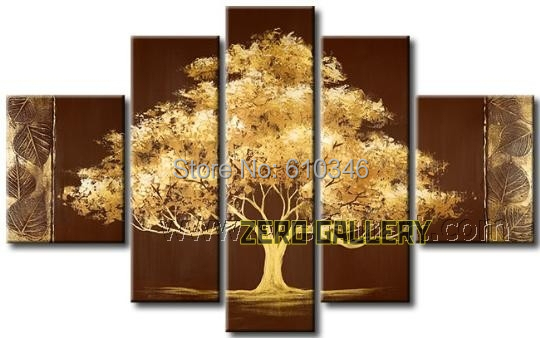 Modern Hand Painted Abstract Brown Golden Leaf Tree Oil