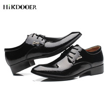 цена на New Arrival Fashion PU Leather Men Dress Shoes Pointed Toe Flat Shoes Lace-up chaussure homme luxe Male Formal Shoes