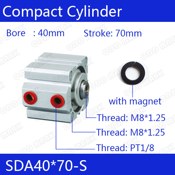 SDA40*70-S Free shipping 40mm Bore 70mm Stroke Compact Air Cylinders SDA40X70-S Dual Action Air Pneumatic Cylinder tn16 70 twin rod air cylinders dual rod pneumatic cylinder 16mm diameter 70mm stroke