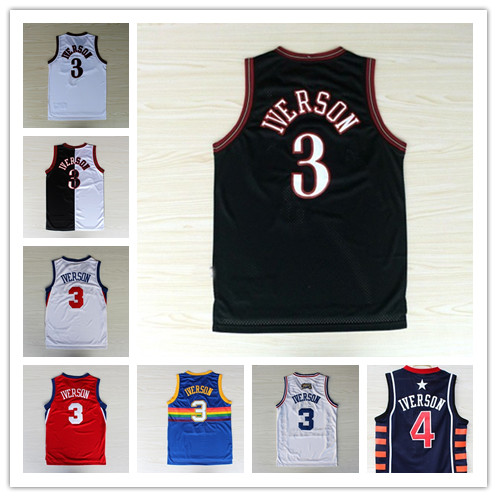 huge discount 28a8d c1d1f 3 Allen Iverson Basketball Jersey Throwback all star usa ...