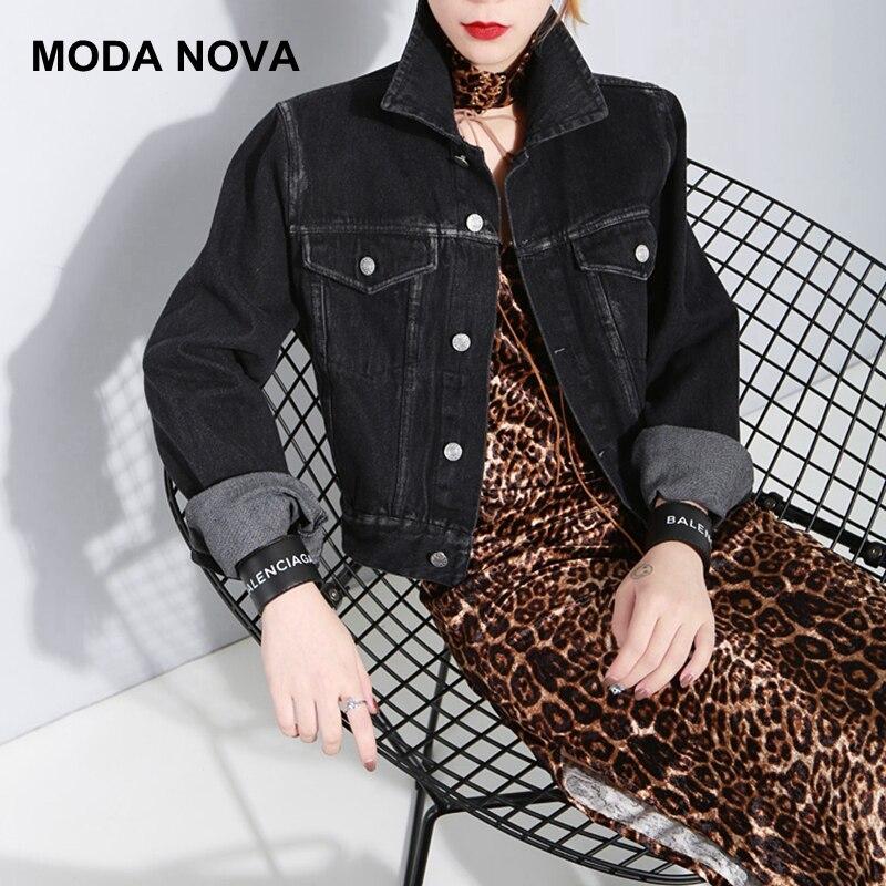 MODA NOVA Casual Denim Black   Basic     Jacket   Women Streetwear Jean   Jackets   Female Chic Outerwear Girls Coat Befree