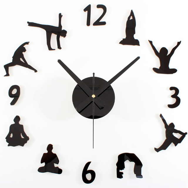 Large 3D DIY Wall Clock Yoga Black Quartz Clocks Watch Decoration Home For Living  Room Bedroom Part 95