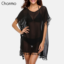 Charmo Women Cover-Up Beach Cover Up Kaftan Bikini Chiffon Tassel See-through Swimsuit Swimwear Sexy Bathing Suit