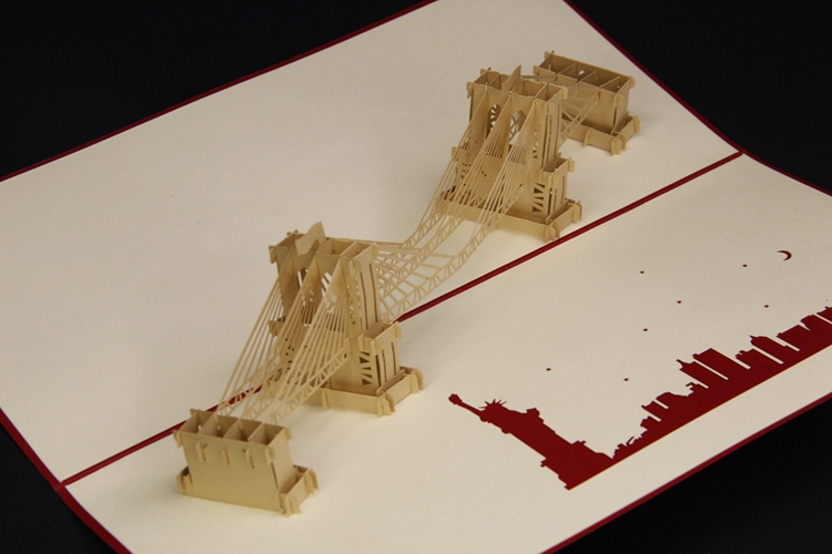 3D Pop Up Brooklyn Bridge Postcards Creative Handmade Greeting Cards Hot Sale Paper Cutting Business Wish On Aliexpress