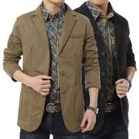 Brand New Blazer Men Casual Blazer Cotton Denim Parka Men's Slim Fit Bomber Military Jackets Army Green Khaki Outwear Size 4XL