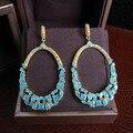 YoGe E7596B frizzling Luxuoso AAA cúbicos de zircônia brincos gota azul pedra banhado a ouro amarelo, brilhante