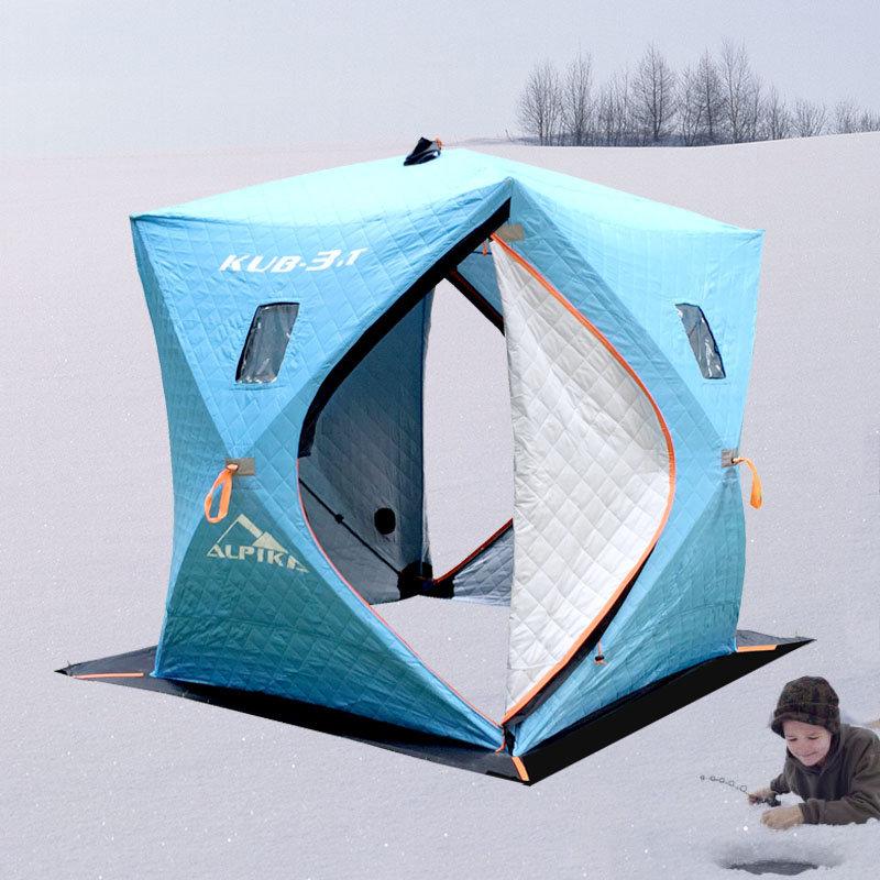 Ice fishing 3 4 person 3 layer cotton warm winter snow use for Ice fishing tents