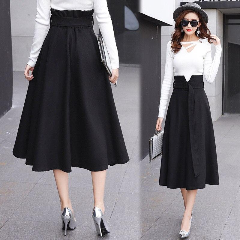 Laine Élégante Carré Longues Haute Noir Ceinture Hiver Automne gris Jupe Femmes Boucle Une Taille Jupes marron Ligne wgRnYtq