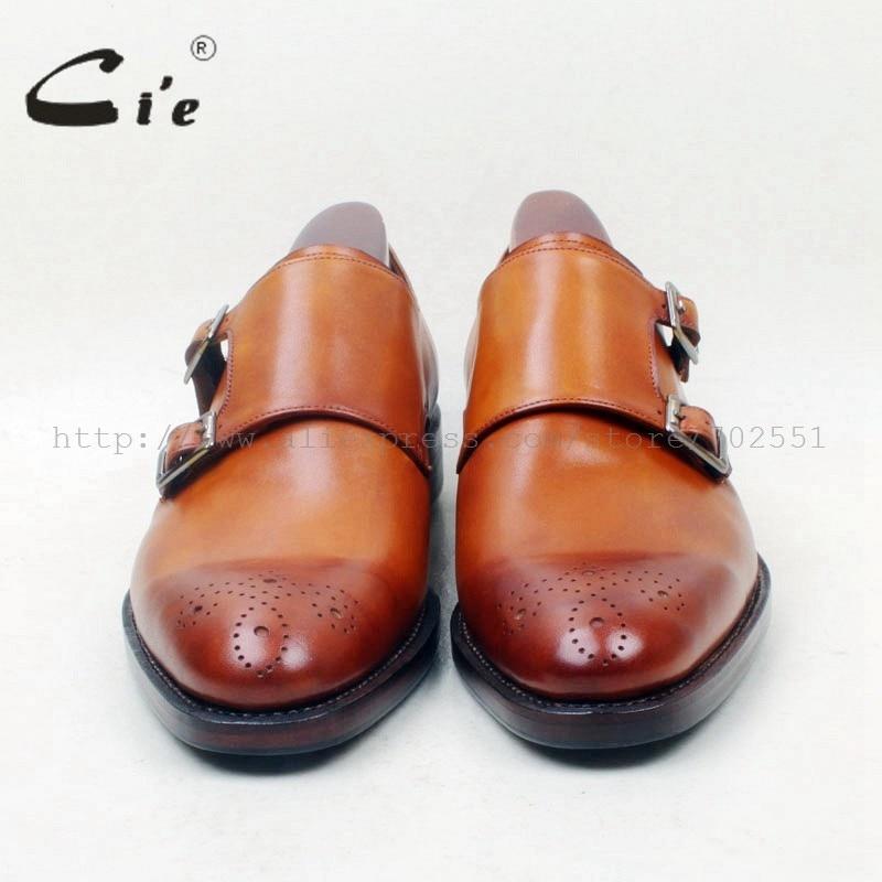 CIE круглый носок вырезы ручная роспись коричневый пользовательские Single Monk Бретели для нижнего белья натуральной телячьей кожи мужские туфли beathable ручной работы ms144