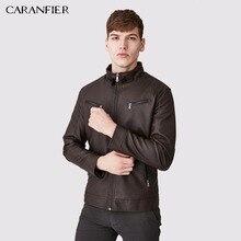 CARANFIER, мужская повседневная кожаная куртка на молнии, высокое качество, ветрозащитное мужское кожаное пальто, мотоциклетный всадник, деловой мужской стиль, M~ 3XL
