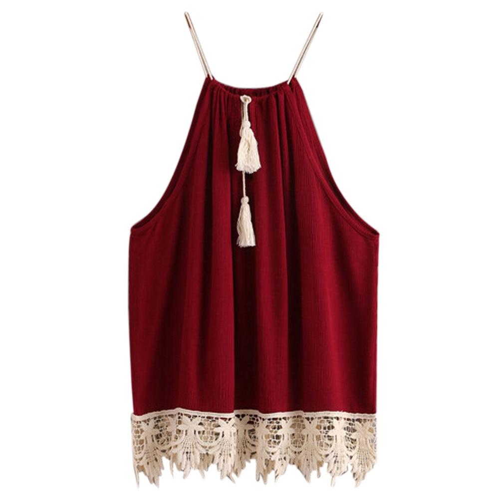 New Fashion 2017 Summer Women Halter Neck   Tops   Sexy Women Lace Trimmed Tasselled Drawstring   Tank     Tops   Boho Crop   Top