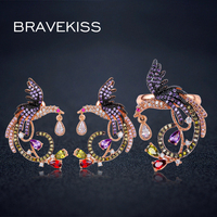 BRAVEKISS colorful crystal Jewelry Sets animal for women wedding bridal phoenix Earrings studs ring set bijoux femme BS03