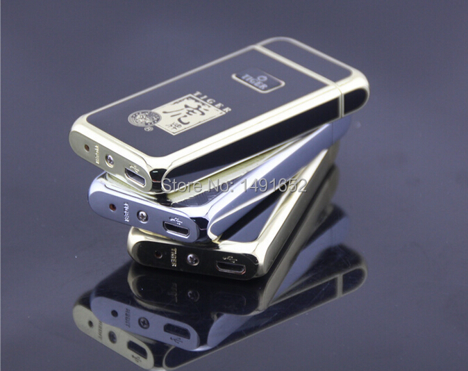 Electronic lighter 909 windproof ultra thin metal pulse charge usb lighter electronic cigarette lighter