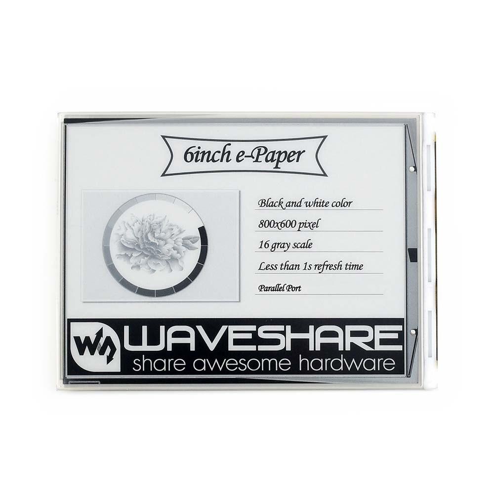 Affichage brut Waveshare 6 pouces e-ink, résolution 800x600, port parallèle, sans carte PCB, faible consommation d'énergie, grand angle de vision