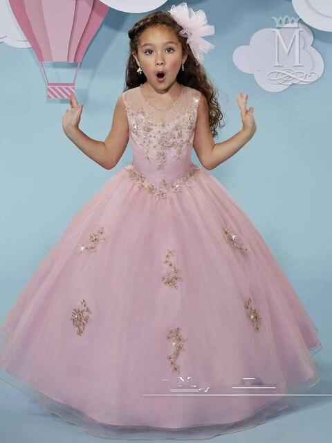 a4d1f6f0a Lo nuevo de Color Rosa de Cristal Apliques vestido de Bola Elegantes  Vestidos de Primera Comunión