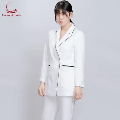 Nurse's Long Sleeve Split Suit Doctor Plastic Surgeon Formal Dress Beauty Salon Work Clothes Summer Suit Two-piece Suit
