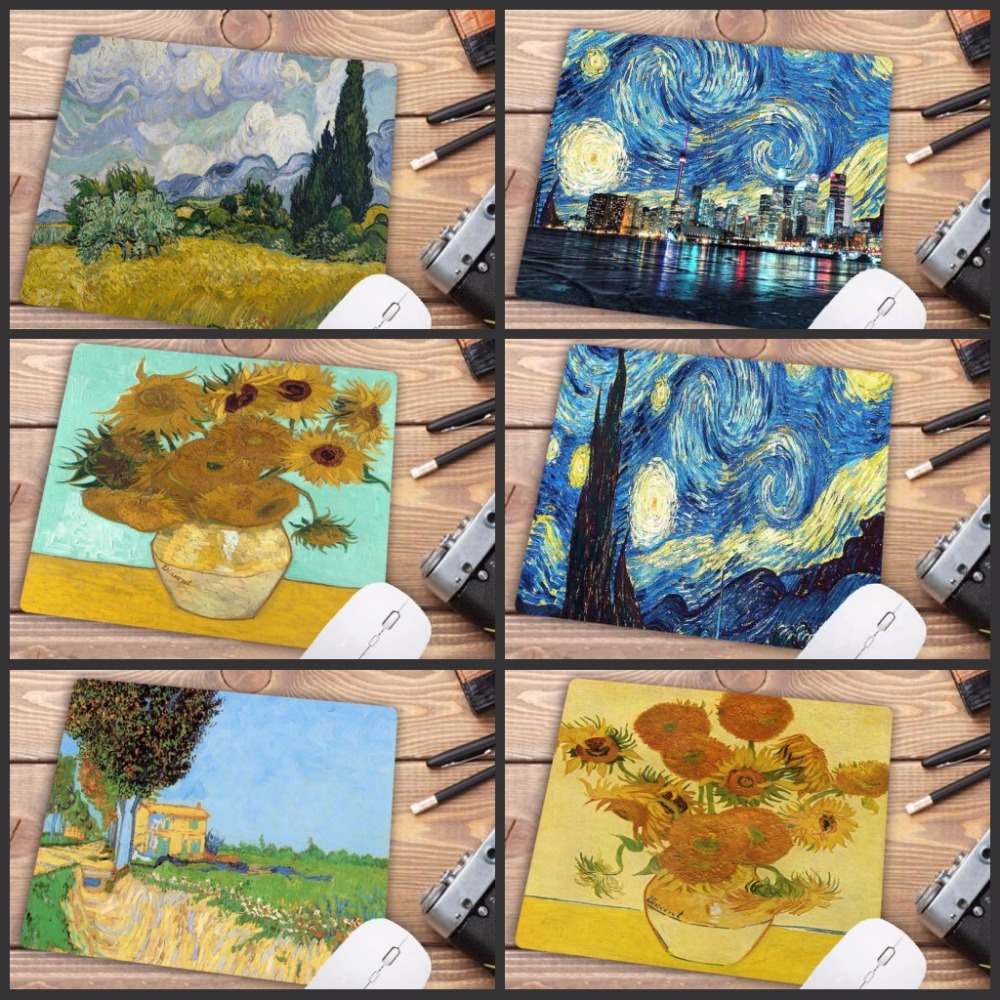 Mairuige Big Promotion  Van Gogh Gamer Play Mats Rubber Art Speed Flower Mouse Pad Small Size For 18x22cm Gaming Mousepads