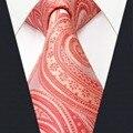 S3 tamaño extra largo paisley orange rosa lazos de los hombres 100% moda pañuelo de seda para los hombres para hombre
