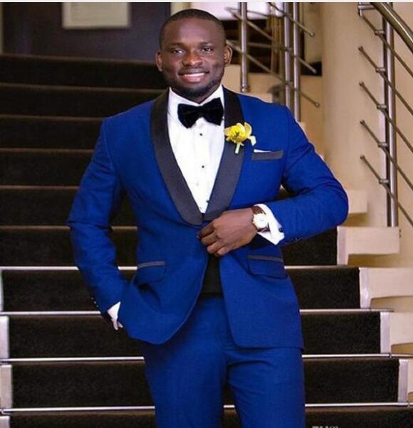 Королевский синий мужской Slim Fit костюмы платье джентльмен Свадебные Блейзер showal воротник Свадебные костюмы для мужчин Классический смокин