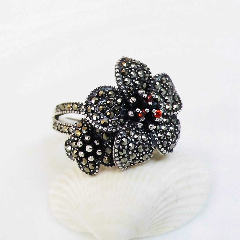 FNJ ดอกไม้ MARCASITE แหวนเงิน 925 Original S925 เงินสเตอร์ลิงแหวนผู้หญิงเครื่องประดับปรับขนาด