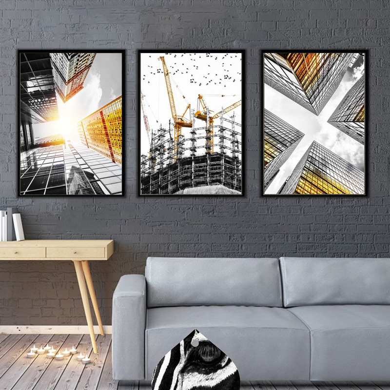 HAOCHU Modern American Skyscrapers Building Fell Canvas Painting Wall Art Picture For Living Room Decor No Frame