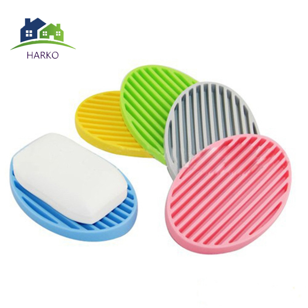 Fashion Soap Holder Container Dish Fashion Silicone Flexible Soap Dish Plate Bathroom Soap Holder 4 Colors