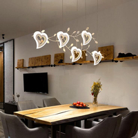 Restaurant chandelier led creative post modern minimalist Nordic American chandeliers heart shaped hanging lamp fixture lighting