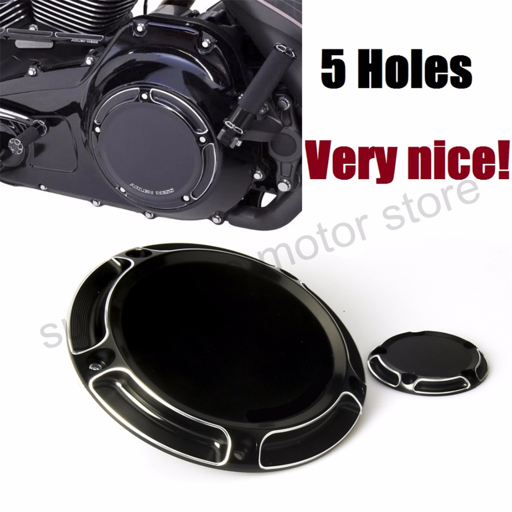 Motorcycle black Beveled Derby Timing Timer Cover For Harley Road King Softail Dyna FLHRS FLTFB CNC 5 holes motorcycle parts derby timing timer cover 5 holes cover cnc beveled black for harley road king softail dyna flhrs fltfb