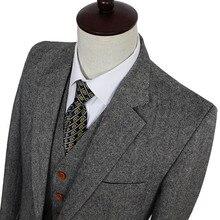 Ретро джентльменский стиль серый классический твидовый портной свадебные костюмы для мужчин на заказ Шерсть Slim Fit блейзер мужской костюм из 3 предметов