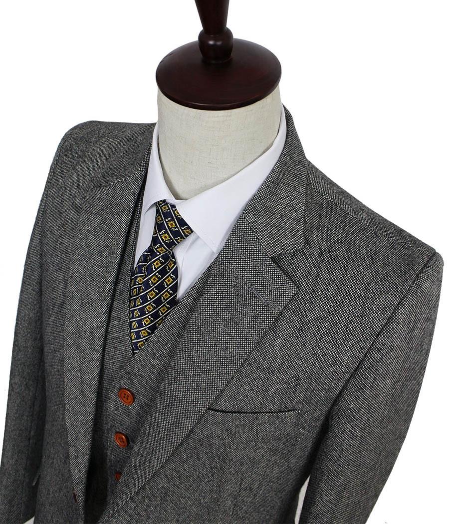 Retro gentleman stijl Grey Classic Tweed tailor wedding suits voor mannen custom made Wol Slim Fit blazer mens 3 stuk pak-in Op maat gemaakte kostuums van Mannenkleding op  Groep 1
