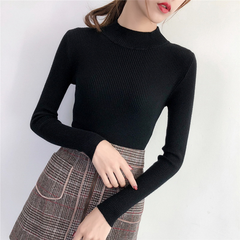 Autumn Winter Korean Style Turtleneck Women Knitted Sweater Elegant Casual  Long Sleeve Female Top OL Work Clothes Pullover Women 7dea80d66eaa