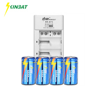 KINBAT 4pcs 1.2V C Size 3000mAh NI CD Rechargeable Battery C Size NiCD Battery With 4 Slots Batteries Charger For Toy Multimeter