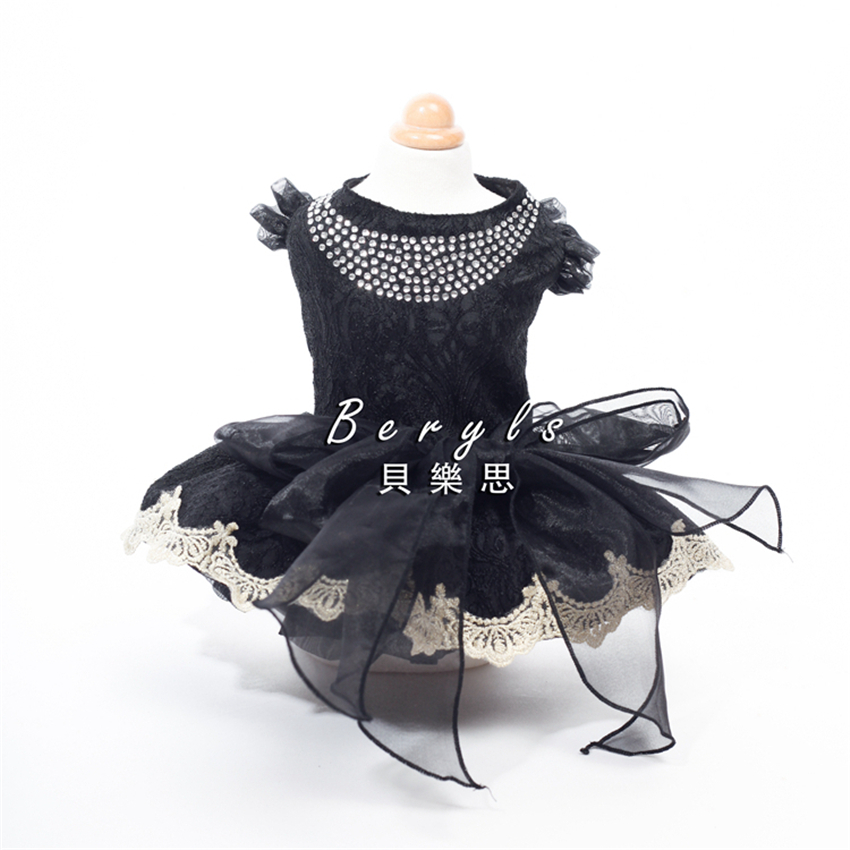 Robes de luxe haut de gamme mariage princesse Banquet chien vêtements pour animaux de compagnie automne printemps Shih Tzu Chihuahua Yorkie Maltese 16D050