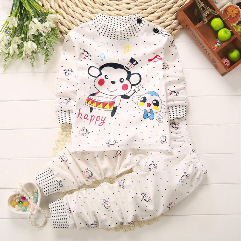 2017 Summer Kids Clothing Sets Boys Girls Cartoon Monkey Cotton Set Winter Children Clothes Long Sleeve T-Shirt+Pants Baby Suit cotton baby rompers set newborn clothes baby clothing boys girls cartoon jumpsuits long sleeve overalls coveralls autumn winter