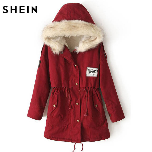 2c081f14db placeholder SHEIN 2016 Autumn/Winter Parkas Casual Women Outerwears Twin  Pockets Long Sleeve Faux Fur Hooded