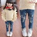 Crianças Primavera Roupas de Outono Criança calças jeans Crianças Jeans rasgado Calças de Jeans para Meninas
