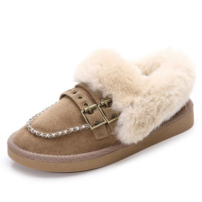 Large size 34 43 2018 Winter women flats casual shoes Buckle Women cotton padded shoes Snow boots S 106